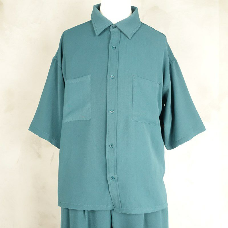 Fafatt ファファット ボックス型 半袖シャツ ダークグリーン